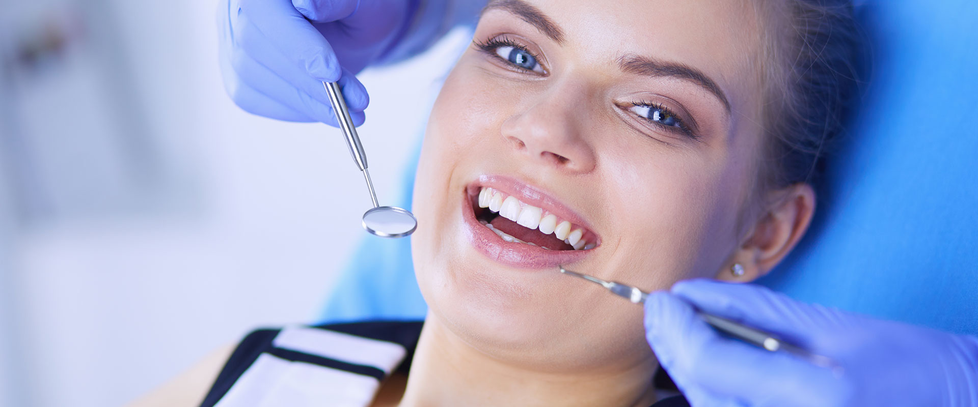 A woman is having dental check-up